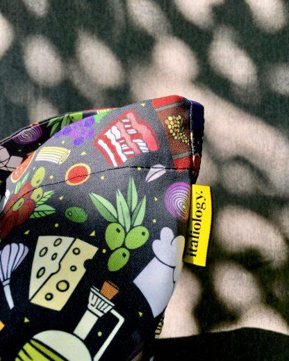 detail of XXL tote bag black Italian food print