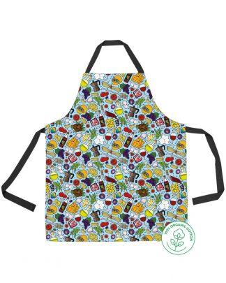 blue Italian food print apron
