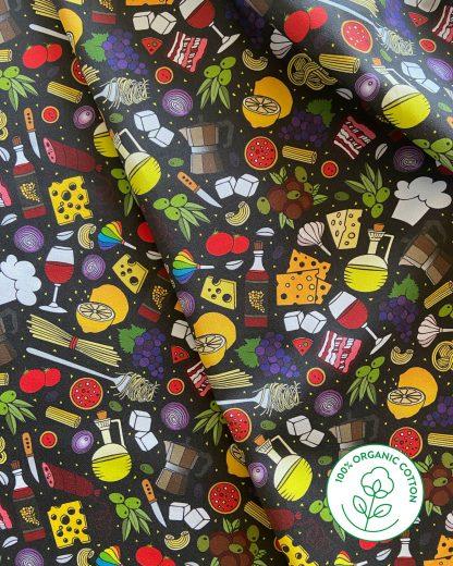 black Italian food print material