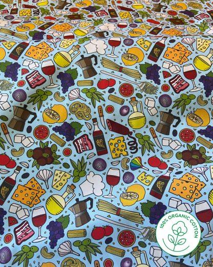 blue Italian food print material