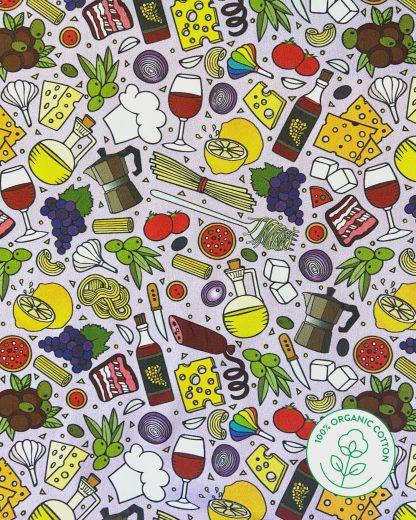 lilac Italian food print material