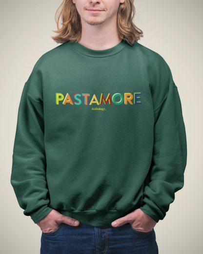 man in bottle green pasta amore sweatshirt