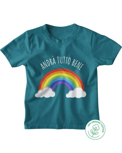 ocean blue t-shirt with rainbow