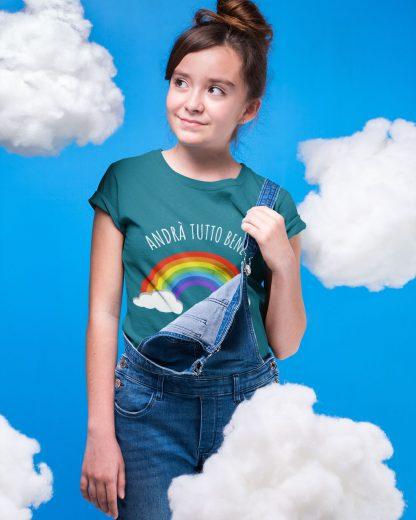 girl wearing ocean-colored t-shirt