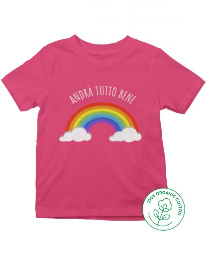 pink t-shirt with rainbow
