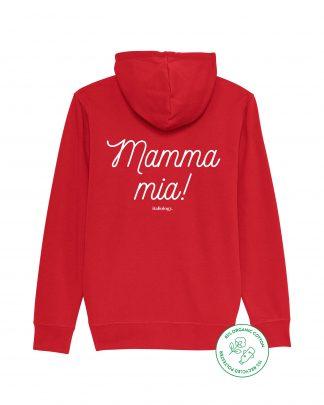 red mamma mia zipper hoodie - back