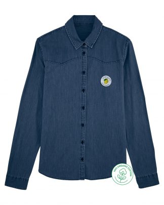women jeans denim shirt with a woven label