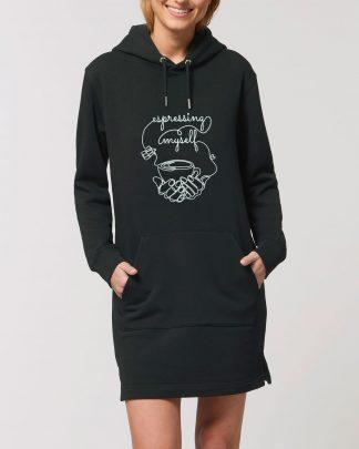 woman in espresso black hoodie dress