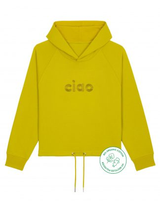 big ciao lime cropped hoodie - front