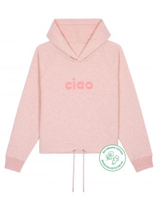 big ciao pink heather cropped hoodie