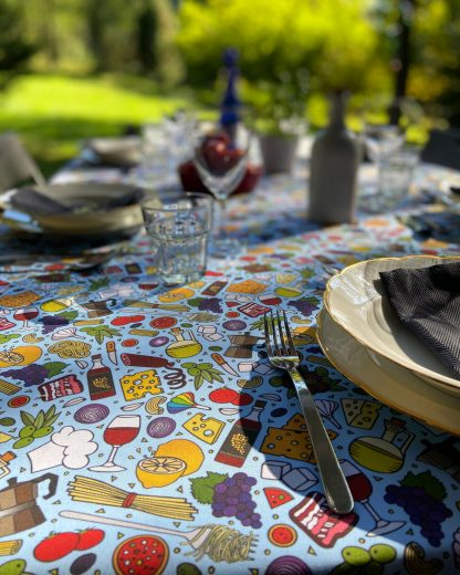 blue Italian food print tablecloth