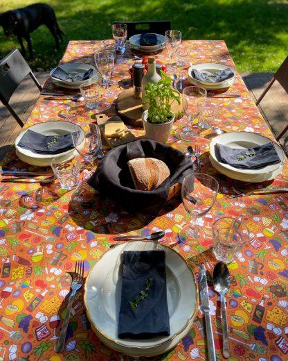 brick Italian food print tablecloth