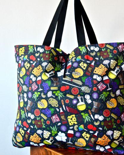 XXL black Italian food print tote bag