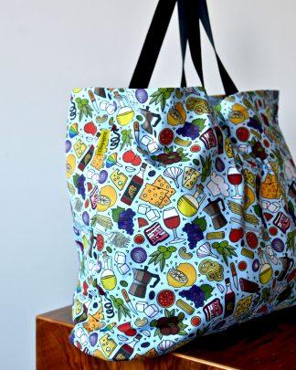 XXL blue Italian food print tote bag