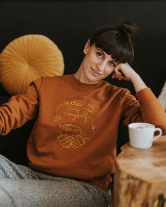 woman wearing caramel espresso sweatshirt