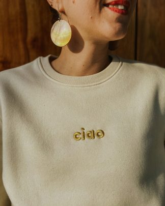 cream sweatshirt with gold ciao embroidery