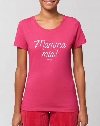 woman wearing pink mamma mia t-shirt