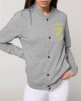 grey bomber sweatshirt with yellow embroidery