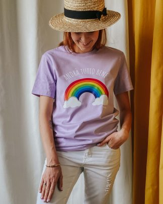 woman wearing lavender tee with rainbow