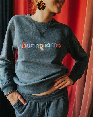 woman wearing vintage ink grey buongiorno set