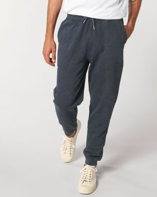 man walking in vintage ink grey sweatpants