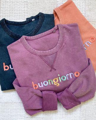 vintage sweatshirts with buongiorno embroidery