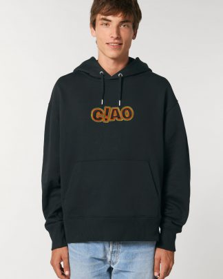 man wearing black oversize ciao hoodie