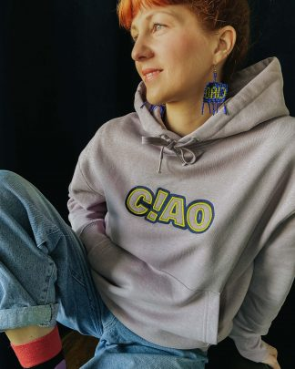 woman wearing lilac oversize ciao hoodie