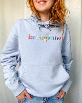 woman wearing sky blue buongiorno hoodie