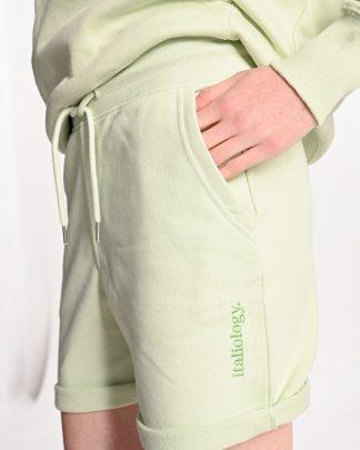 light green short sweatpants