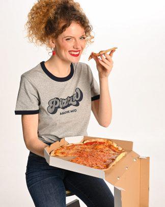 woman wearing grey pizza tshirt