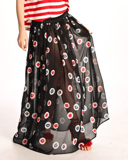 detail of black chiffon skirt with kisses